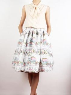$50.99 Choies Limited Edition Paris Streetscape Print High Waist Skate Skirt - Choies.com