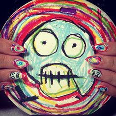 Nails inspired by The Mighty Boosh! Artwork by Noel Fielding