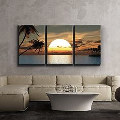 3 Piece Canvas Print Contemporary Art Modern Wall Decor Tropical Sunset endless summer Giclee Artwork Gallery Wrapped Wood Stretcher Bars Ready to Hang Panels -- To view further for this item, visit the image link. (This is an affiliate link) Unique Wall Art, Modern Wall Decor, Wall Art Decor, Room Decor, Sala Grande, Sunset Canvas, Home Wall Art, Canvas Wall Art, Canvas Prints