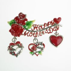 Vintage Charm Brooch Pin `Happy Mothers Day' Red Enamel with Roses and Hearts $38 Two Available! http://www.rubylane.com/item/885482-JE-419/Vintage-Charm-Brooch-Pin-x91Happy