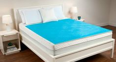 """Dreamfinity Hydraluxe King Size Cooling Gel Matress Pad by Comfort Revolution. $315.00. Cover: machine washable; gel pad: spot clean. Fits mattresses up to 20"""". Enhances circulation for a massaging sleep. Dimensions:  King - 76"""" x 80"""" (gel sheet 76"""" x 60""""). Polyester/spandex. The Cool Cerulean Bubbles Gel Pad enhances circulation for a massaging sleep. The Hydraluxe gel technology is the revolutionary solution for temperature-perfect sleep. The pad comes complete with a ..."""