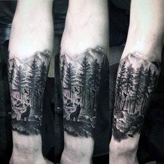 Mens Landscape Forest Inner Forearm Tattoo Designs
