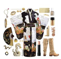 """Kimono w/ Boots"" by burlsgurl ❤ liked on Polyvore featuring John Hardy, 2 Lips Too, In Your Dreams, Yves Saint Laurent, Bobbi Brown Cosmetics, MAC Cosmetics, Essie, Sonix, Tada & Toy and Herend"