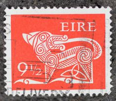 Ireland Stamp.  First introduced by the Irish postal service (AN Post) in 1971, this stamps feature a Celtic dog motif and had a 9.5 pinsin denomination
