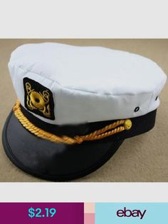 47738c485ad2f Accessories Men   Women s White Yacht Captain Skipper Sailor Boat Cap Hat  Costume W