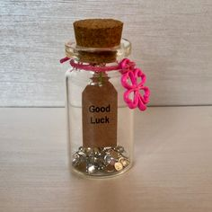 Quirky 'Good Luck' 🍀 Message in a Bottle keepsake/ gift. Available in a variety of colour combinations by The Handmade Company Star Wand, Small Gift Boxes, Bottle Sizes, Message In A Bottle, Purple Lilac, Colour Combinations, Bright Pink, Save The Date, Wands