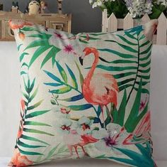 The Pink Flamingo Cushion Cover Funky Cushions, Vintage Cushions, Decorative Cushions, Decorative Pillow Covers, Flamingo Facts, Flamingo Decor, French Country Decorating, Country French, French Decor