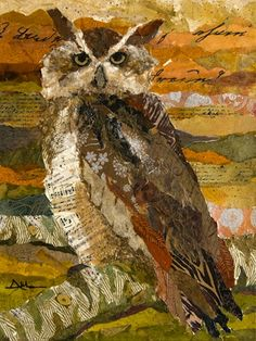 Torn paper collage paintings Althea Sassman Owl's Rest