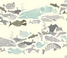Geometric Whales on Parade - Greys on Cream fabric by aldea on Spoonflower - custom fabric