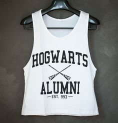 Hogwarts Alumni Harry Potter Tank Top Low Cut Cropped Shirt Size S or M