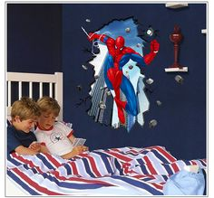 SpiderMan wall decal spider man wall decal Spider-Man Removable vinyl wall decals Kids Children boy home decor Wall Sticker PEEL and STICK on Etsy, $32.00