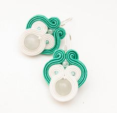 Mint green earrings with soutache and by MANUfakturamaanuela, $35.00