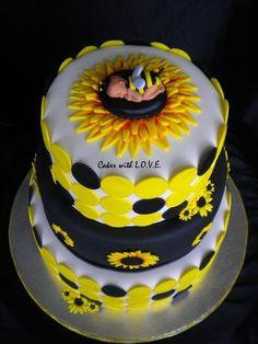 Black and yellow sunflower baby shower cake