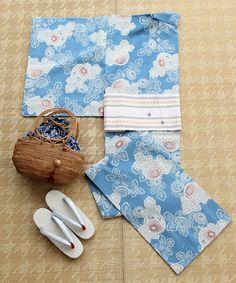 KIMONO(キモノ)のKaguwa浴衣 菊(刷毛目)(着物・浴衣)|ターコイズブルー