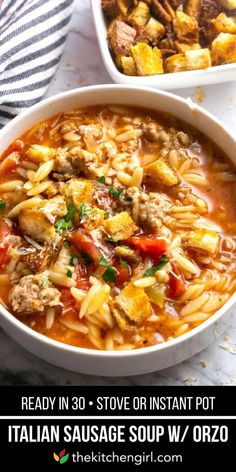 Italian Sausage Soup with Orzo Italian soup in 30 minutes for Instant Pot or stove! Comfort food with pork sausage, everyday vegetables, whole grain orzo, and chicken broth Italian Chicken Soup, Italian Sausage Soup, Italian Sausage Recipes, Chicken Orzo, Chicken Soups, Chicken Sausage, Easy Soup Recipes, Chili Recipes, Cooking Recipes