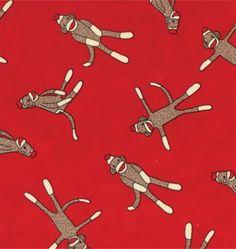 Sock Monkey Standard Cotton Funky Monkey Toss in Red by neemerone