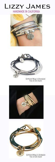 Celebrate YOUR classic style with Lizzy James jewelry! Lizzy James' Girlfriend Wrap Bracelet & Necklace NOW comes in silverplate metal & 22kt goldplate! Choose from 50+ leather colors to personalize your style! http://lizzyjames.com/products/girlfriend-wrap-with-silver-tree-of-life-charm-bracelet-necklace #LizzyJamesInc #ValentinesDay