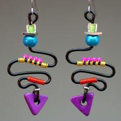Black & brights swirly wire earrings