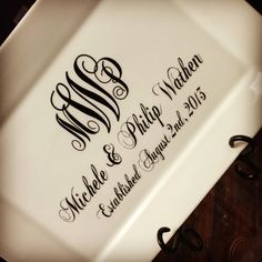 Monogram Personalized Wedding Date Plate with Stand Monogram Initials. $36.00, via Etsy.