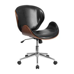 Cosntructed of wood and leather, this swivel chair offers comfort and style. This chair is available in a variety of color options and has an adjustable height feature.