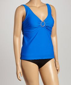 20 Loving this Blue Ruched Tankini Top - Plus on #zulily! #zulilyfinds