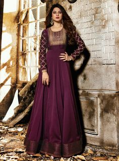Buy Jennifer Winget Purple Georgette Long Anarkali Suit 139954 Price - 76 USD online at lowest price from huge collection of salwar kameez at Indianclothstore.com.