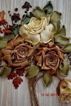 Ribbon Petals  #Ribbon embroidery #Crafts #@Af's 25/4/13