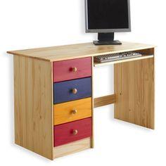 Schreibtisch MALTE, Kiefer massiv, bunt