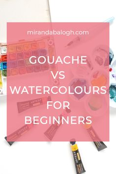 What's the difference between gouache and watercolour? In the watercolour vs gouache debate, which medium is easier? These are some of the questions that will be explored in this article which compares the pros and cons of each painting medium. So click here to learn about the similarities and differences between watercolour painting and gouache. In addition, you'll learn about their properties so that you can combine both to create your very own gouache and watercolour painting. Gouache Vs Watercolor, Gouache Color, Watercolour Painting, Similarities And Differences, Watercolour Tutorials, Art Lessons, Create Yourself, This Or That Questions, Learning