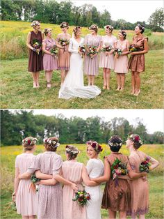 Mismatched bridesmaid dresses in neutral tones