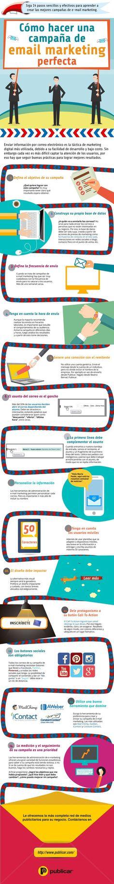 Esta infografía en español nos ofrece catorce consejos o claves para crear campañas de email marketing perfectas y efectivas.