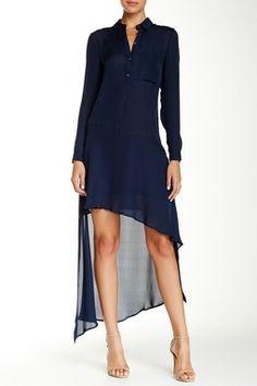 Long Sleeve Asymmetrical Hem Silk Henley Dress