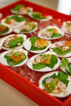 I like the idea of serving seafood appetizers on a scallop shell ~ pretty