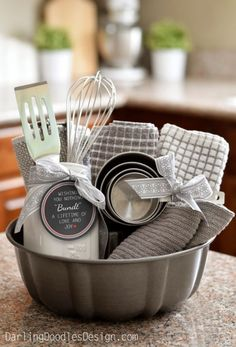 DIY Housewarming Gifts - Adorable Bundt Gift Basket- Best Do It Yourself Gift Ideas for Friends With A New House, Home or Apartment - Creative, Cheap and Quick Crafts and DIY Ideas for Housewarming Presents - Mason Jar Gifts, Baskets, Gifts for Women and Men diyjoy.com/...