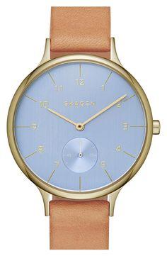 oooooh...I kinda like the blue face.... Skagen 'Anita' Leather Strap Watch, 34mm
