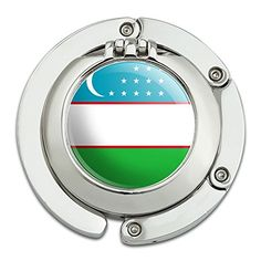 Graphics and More Uzbekistan National Country Flag Foldable Table Bag Purse Caddy Handbag Hanger Holder Hook with Folding Compact Mirror