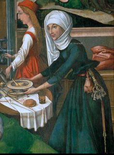 from The Birth of Mary by Hans Holbein the Elder, SOTTOPIATTO Nascita di Maria Begegnung an der goldenen Pforte (Dieses Bild by Andrea Carloni (Rimini) Medieval Life, Medieval Fashion, Medieval Clothing, Medieval Art, Renaissance Art, Historical Clothing, Medieval Drawings, Medieval Paintings, 15th Century Fashion