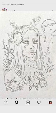 Girl Drawing Sketches, Art Drawings Sketches Simple, Pencil Art Drawings, Cute Drawings, Drawing Ideas, Hippie Art, Cartoon Art Styles, Art Sketchbook, Cute Art