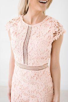 e7f61f6fb03c blush lace wedding guest dress ideas #weddingdresseslace Crochet Lace Dress,  Dress Lace, Modest