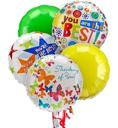 A mixed Mylar #balloon #bouquet for any special occasion.Big and beautiful, this fun mix of five Mylar balloons is just the thing to put a smile on their face.