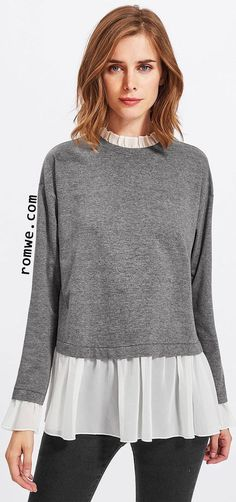 Contrast Ruffle Trim Heather Knit Sweatshirt Long Sleeve Crew Neck Pullovers Autumn Women Sweatshirt Gray L Sewing Clothes Women, Diy Clothing, Clothes For Women, Diy Fashion, Ideias Fashion, Womens Fashion, Fashion Design, Style Fashion, Fall Shirts
