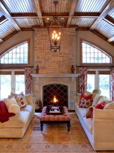 Stunning design - wood ceiling, stone fireplace