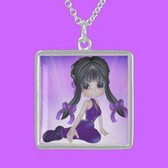 Cute Brunette Girl Sterling Silver Necklace $154.75