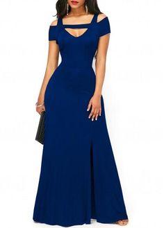 rotita.com - unsigned Front Slit Strappy Cold Shoulder Dark Blue Dress - AdoreWe.com