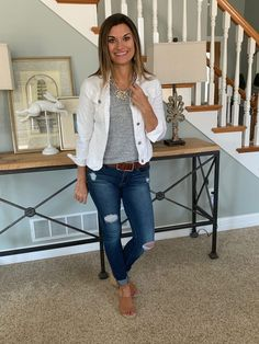 Fashion Look Featuring BaubleBar Necklaces and BaubleBar Necklaces by justposted - ShopStyle - Simple, casual outfit for spring Source by vjln - White Jacket Outfit, Jean Jacket Outfits, Vest Outfits, Denim Outfit, Casual Outfits, Fashion Outfits, Mode Style, White Denim, Spring Outfits