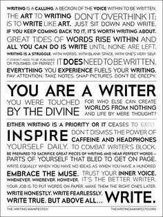 The Writing Manifesto is a dedication to the act of writing, a call to lay down words on page by… Read more The Writing Manifesto Home Book Writing Tips, Writing Skills, Writing Prompts, Writing Humor, Journal Prompts, Words For Writers, Writers And Poets, Writer Quotes, Writer Memes