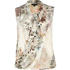 River Island Beige floral sleeveless wrap blouse featuring polyvore fashion clothing tops blouses floral shirts sale wrap blouse sleeveless shirts wrap shirt white shirt floral shirt