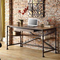 Riverside Camden Town Writing Desk with Optional Bookcases - Hampton Road Ash - Desks at Hayneedle 56x26x30 $753