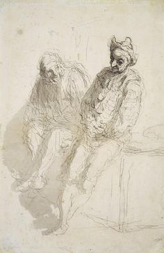 Honoré Daumier  Deux saltimbanques / Two Saltimbanques, ca. 1865–70 - Honoré Daumier was known above all for his socio-historically relevant lithographs in the area of the newspaper caricature.