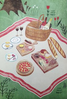 Illustration from the Art of French Baking book, written by Ginette Mathiot and illustrated by Sara Mulvanny.   Sara Mulvanny is a freelance illustrator living in North Hampshire. She creates stylised pen and ink drawings then digitally adds texture and colour.  http://www.saramulvanny.com/